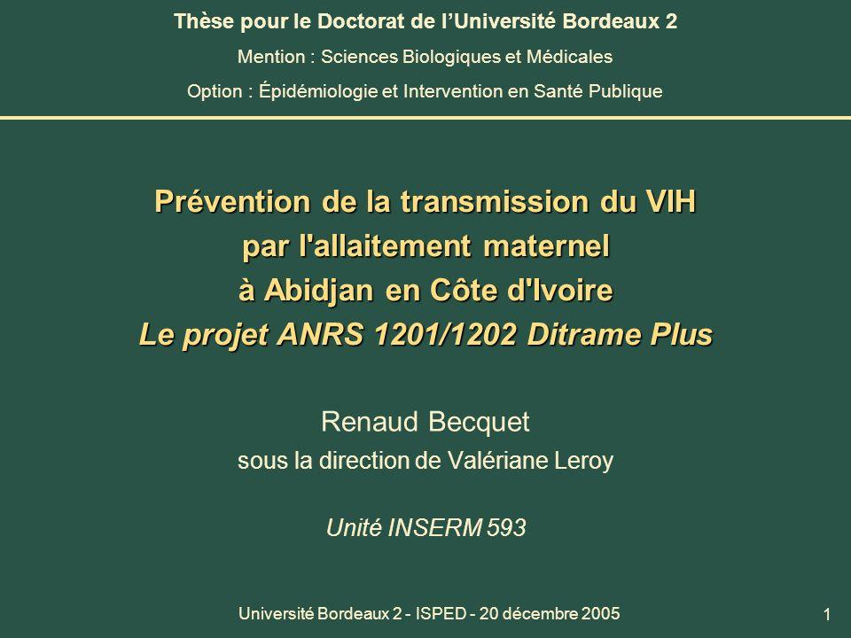 1 Prévention de la transmission du VIH par l'allaitement maternel à Abidjan en Côte d'Ivoire Le projet ANRS 1201/1202 Ditrame Plus Renaud Becquet sous