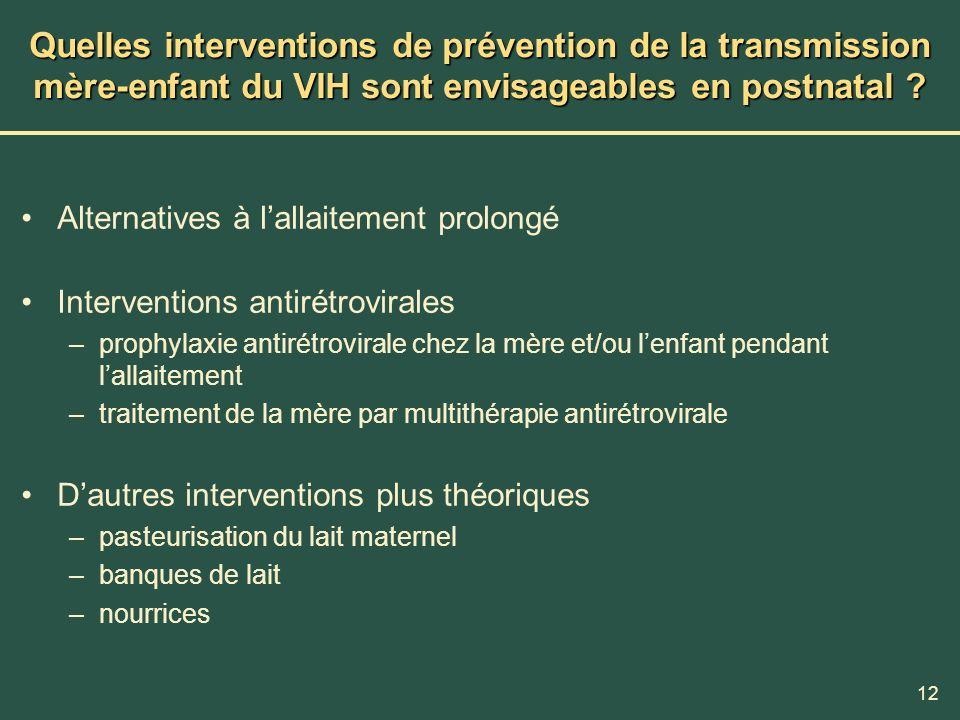 12 Quelles interventions de prévention de la transmission mère-enfant du VIH sont envisageables en postnatal ? Alternatives à lallaitement prolongé In