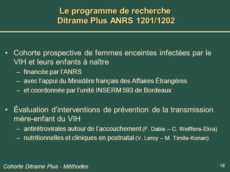 16 Le programme de recherche Ditrame Plus ANRS 1201/1202 Cohorte prospective de femmes enceintes infectées par le VIH et leurs enfants à naître –finan