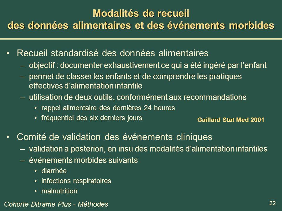 22 Modalités de recueil des données alimentaires et des événements morbides Recueil standardisé des données alimentaires –objectif : documenter exhaus