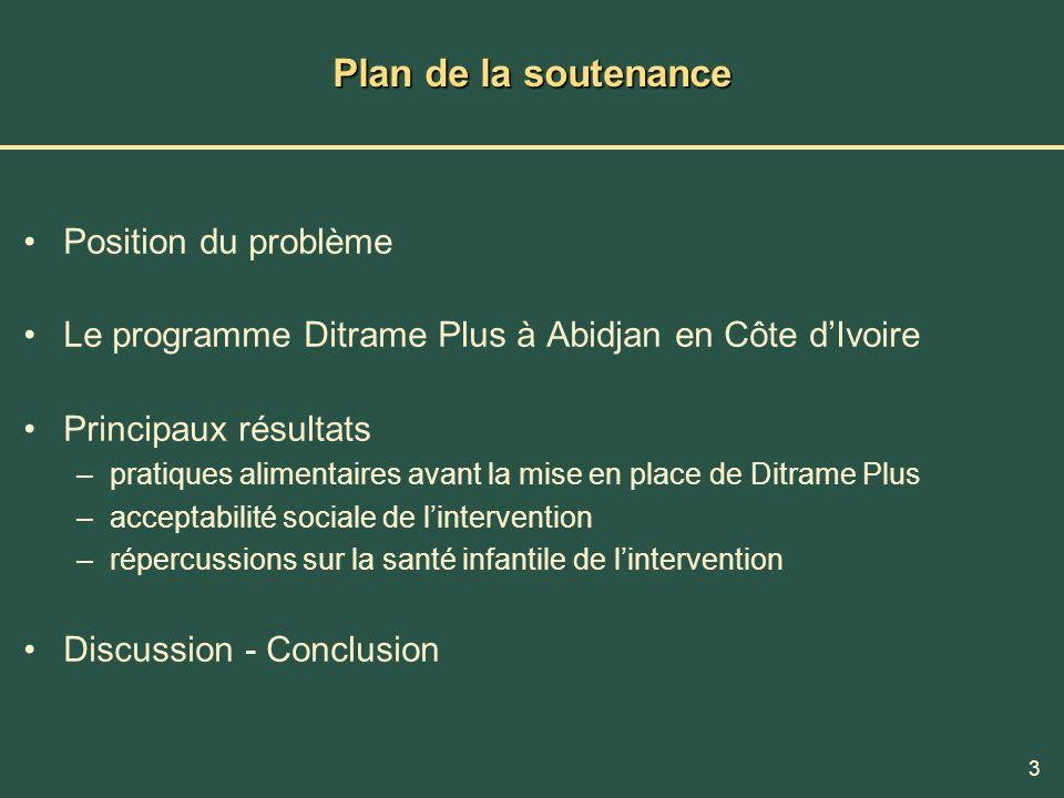 3 Plan de la soutenance Position du problème Le programme Ditrame Plus à Abidjan en Côte dIvoire Principaux résultats –pratiques alimentaires avant la