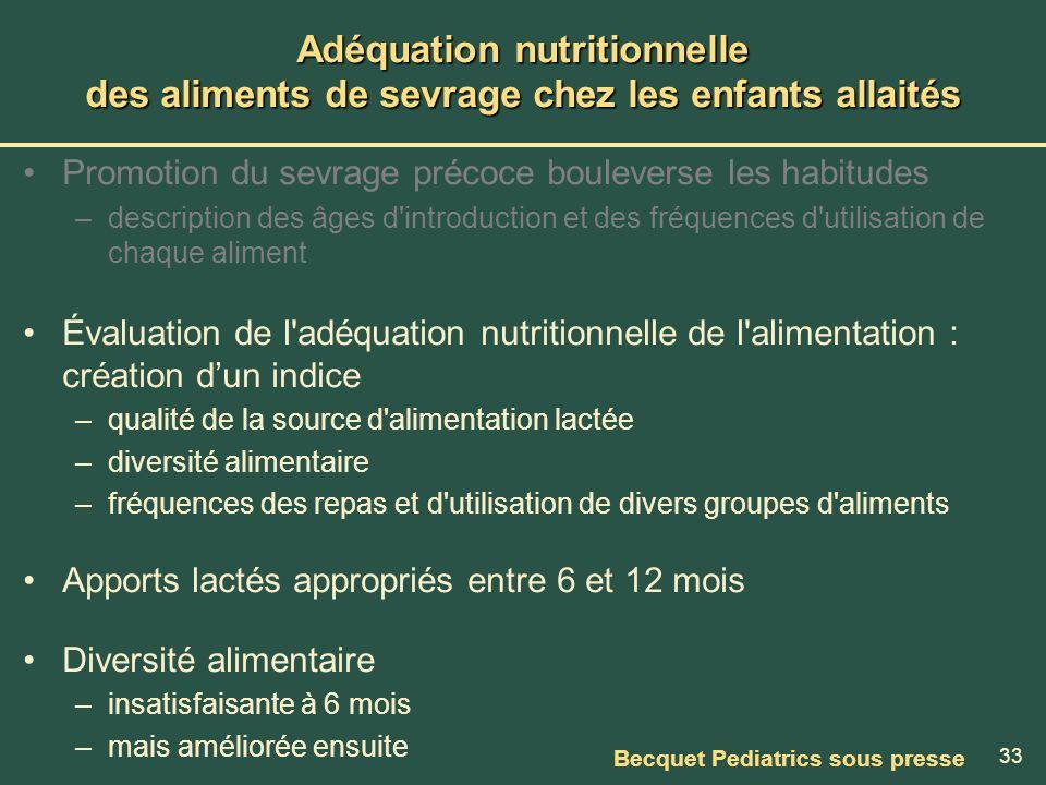 33 Adéquation nutritionnelle des aliments de sevrage chez les enfants allaités Promotion du sevrage précoce bouleverse les habitudes –description des