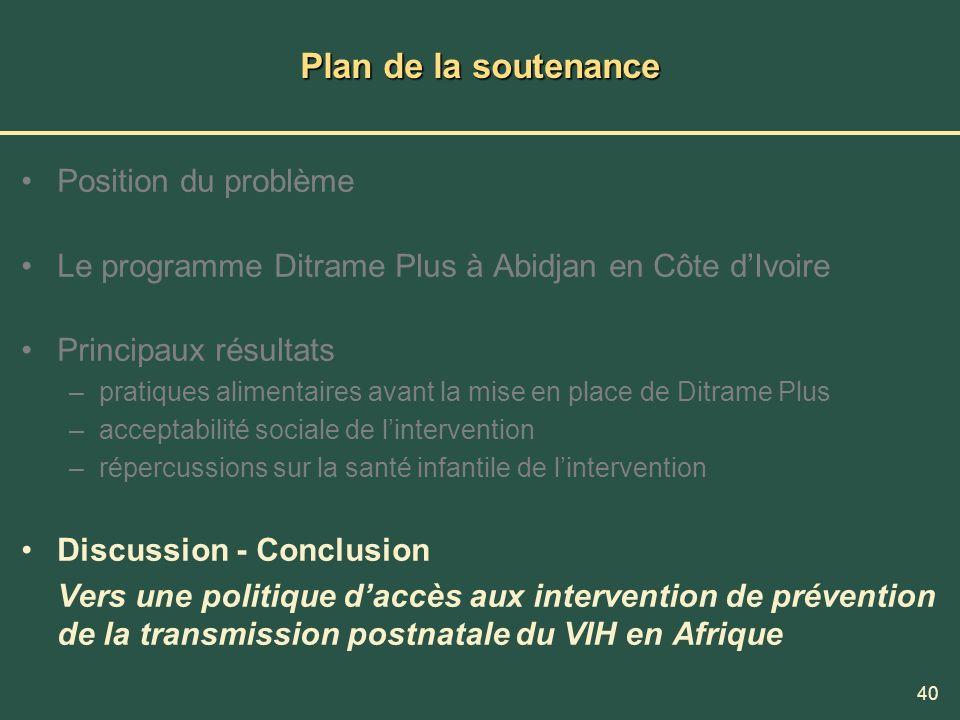40 Plan de la soutenance Position du problème Le programme Ditrame Plus à Abidjan en Côte dIvoire Principaux résultats –pratiques alimentaires avant l