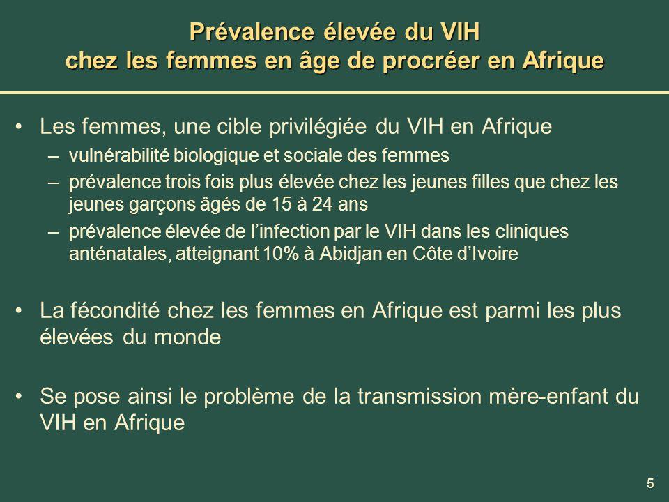5 Prévalence élevée du VIH chez les femmes en âge de procréer en Afrique Les femmes, une cible privilégiée du VIH en Afrique –vulnérabilité biologique