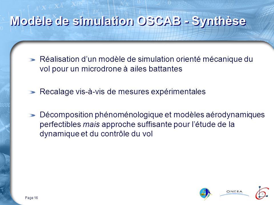 Page 16 Modèle de simulation OSCAB - Synthèse Réalisation dun modèle de simulation orienté mécanique du vol pour un microdrone à ailes battantes Recalage vis-à-vis de mesures expérimentales Décomposition phénoménologique et modèles aérodynamiques perfectibles mais approche suffisante pour létude de la dynamique et du contrôle du vol