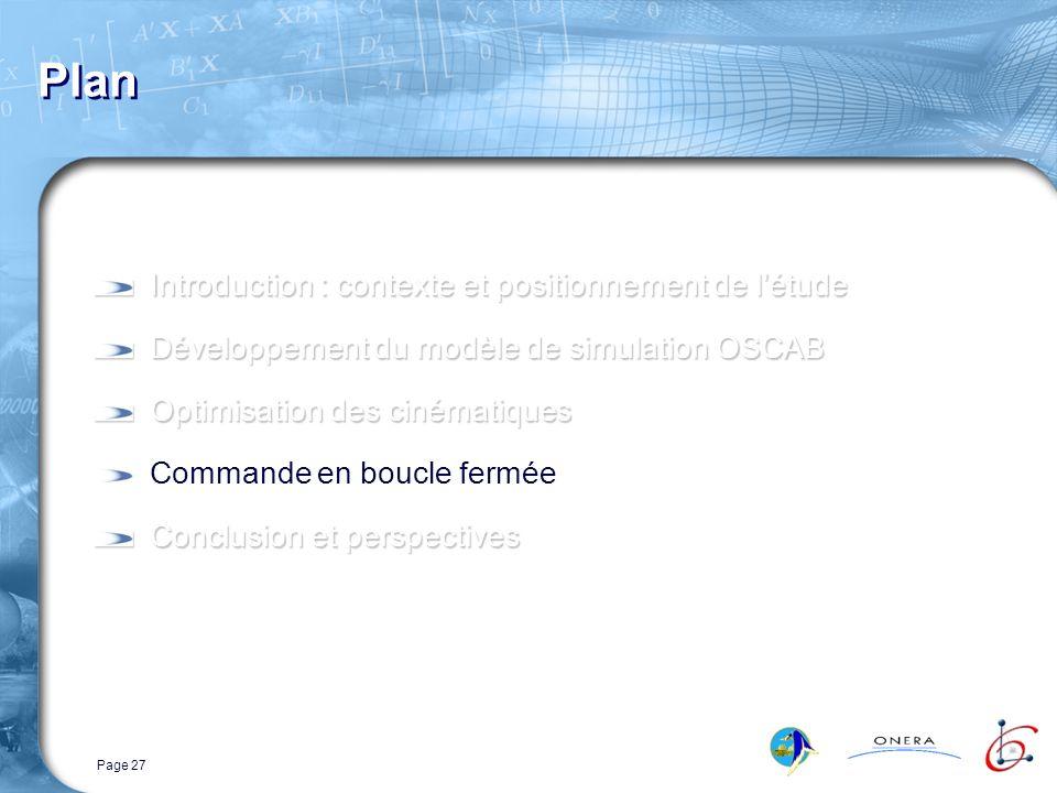 Page 27 Plan Introduction : contexte et positionnement de létude Développement du modèle de simulation OSCAB Optimisation des cinématiques Commande en boucle fermée Conclusion et perspectives
