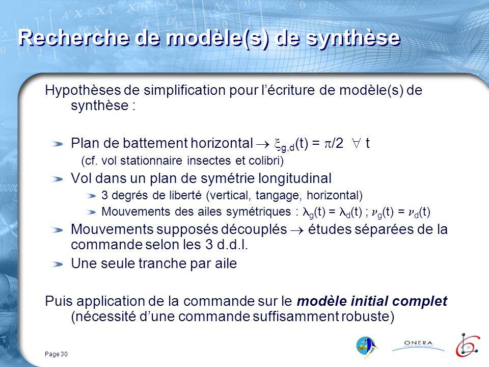 Page 30 Recherche de modèle(s) de synthèse Hypothèses de simplification pour lécriture de modèle(s) de synthèse : Plan de battement horizontal g,d (t) = /2 t (cf.