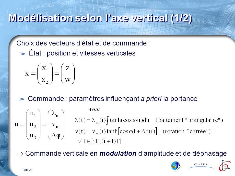 Page 31 Modélisation selon laxe vertical (1/2) Choix des vecteurs détat et de commande : État : position et vitesses verticales Commande verticale en modulation damplitude et de déphasage Commande : paramètres influençant a priori la portance