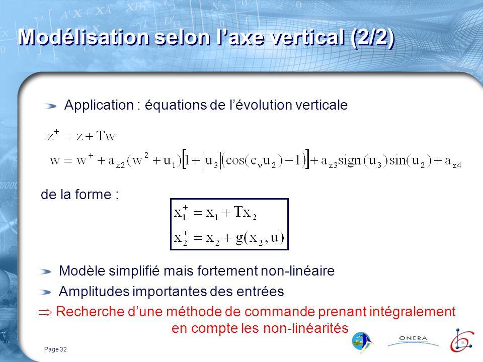 Page 32 Modélisation selon laxe vertical (2/2) Application : équations de lévolution verticale de la forme : Modèle simplifié mais fortement non-linéaire Amplitudes importantes des entrées Recherche dune méthode de commande prenant intégralement en compte les non-linéarités