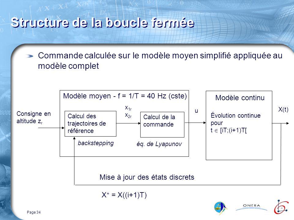 Page 34 Structure de la boucle fermée Commande calculée sur le modèle moyen simplifié appliquée au modèle complet Consigne en altitude z r Modèle moyen - f = 1/T = 40 Hz (cste) Calcul des trajectoires de référence backstepping Calcul de la commande éq.