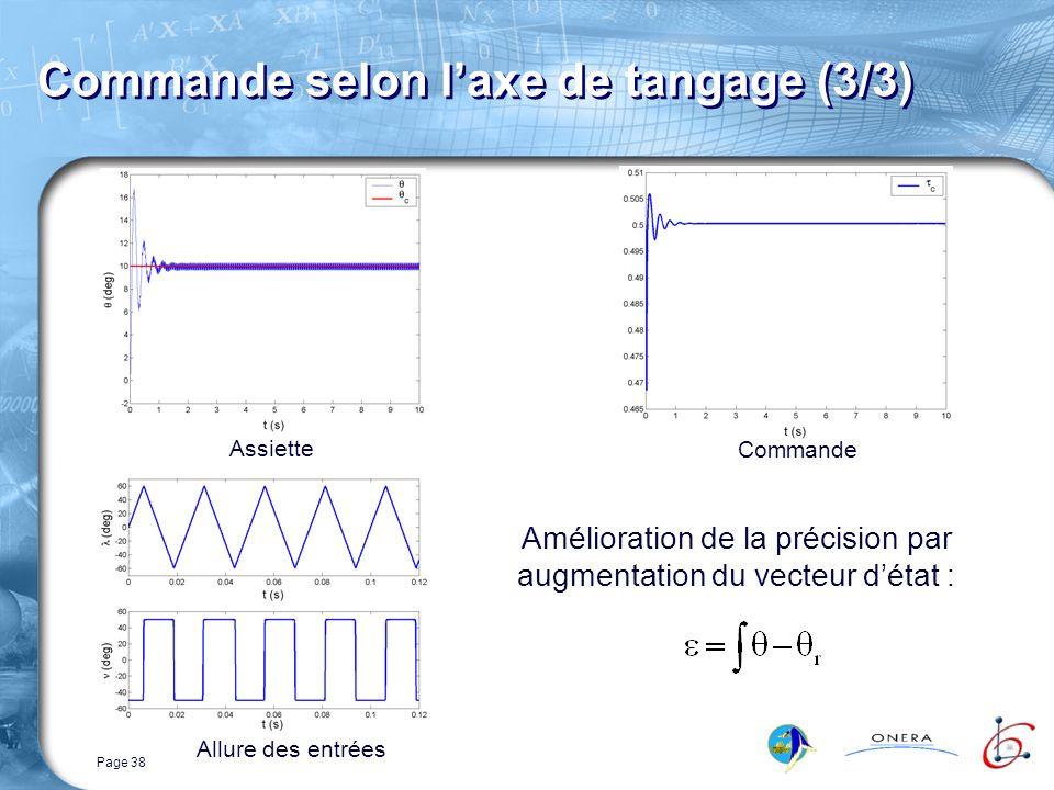 Page 38 Commande selon laxe de tangage (3/3) Assiette Amélioration de la précision par augmentation du vecteur détat : Commande Allure des entrées
