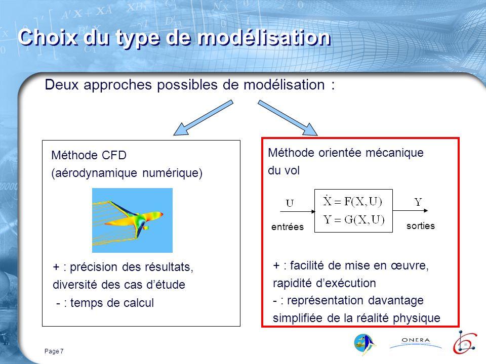Page 8 Modèle de simulation OSCAB ( Outil de Simulation de Concept à Ailes Battantes) Entrées du modèle : lois de mouvement des ailes (fonctions arbitraires du temps) Sorties : position et vitesse du corps (6 ddl) Calcul local des grandeurs et efforts aérodynamiques (méthode 2D par tranches) Nécessité de modèles aérodynamiques des effets spécifiques au vol battu
