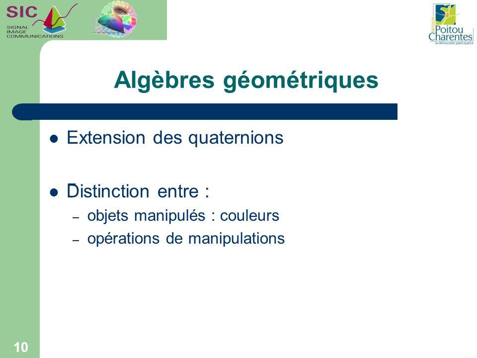 Extension des quaternions Distinction entre : – objets manipulés : couleurs – opérations de manipulations Algèbres géométriques 10 ¯