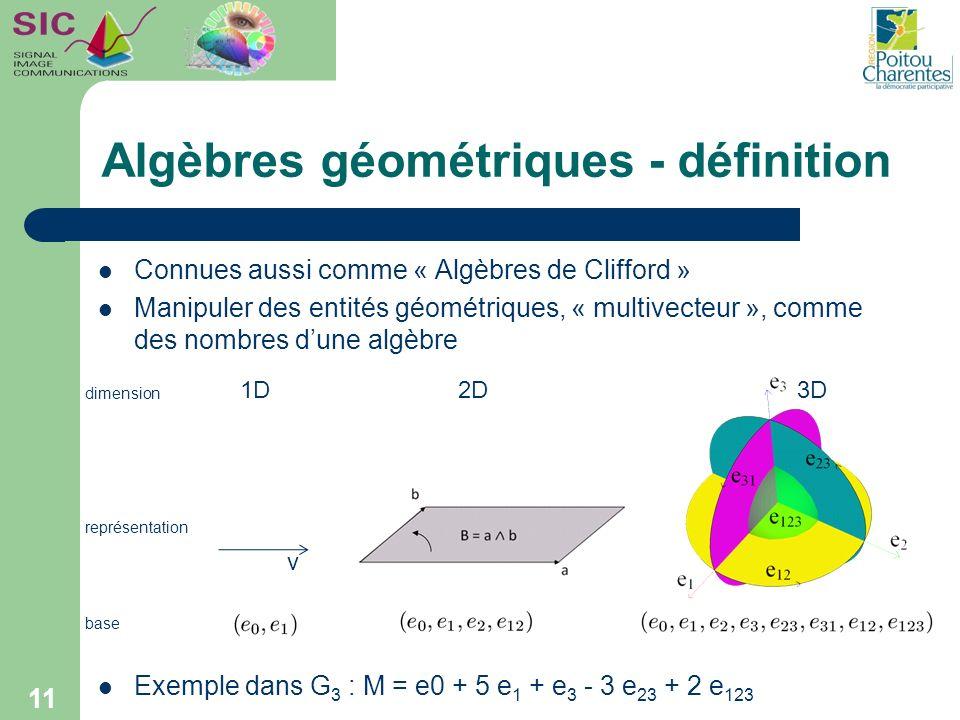 Algèbres géométriques - définition Connues aussi comme « Algèbres de Clifford » Manipuler des entités géométriques, « multivecteur », comme des nombre