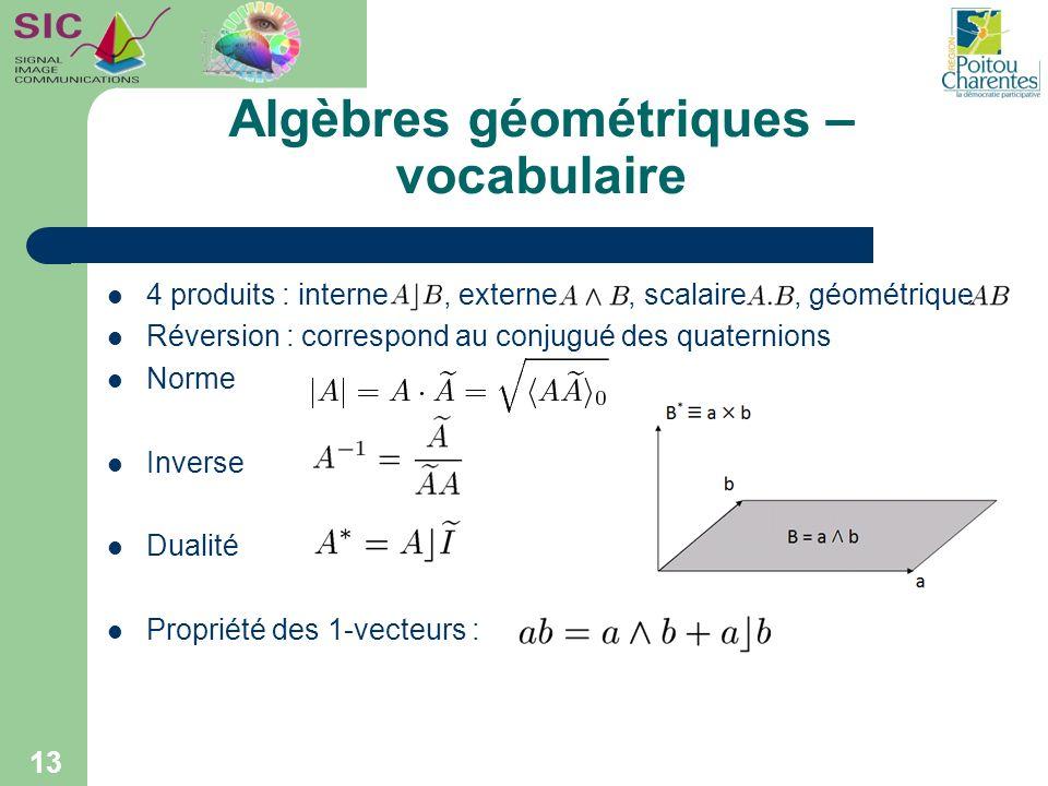 Algèbres géométriques – vocabulaire 4 produits : interne, externe, scalaire, géométrique Réversion : correspond au conjugué des quaternions Norme Inve