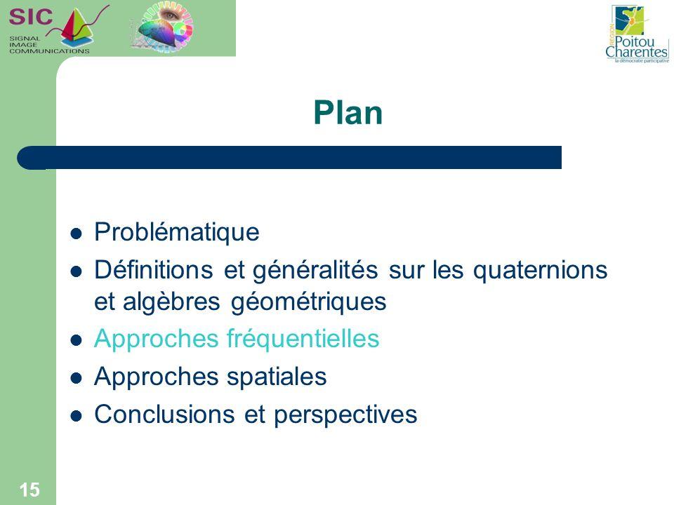15 Plan Problématique Définitions et généralités sur les quaternions et algèbres géométriques Approches fréquentielles Approches spatiales Conclusions