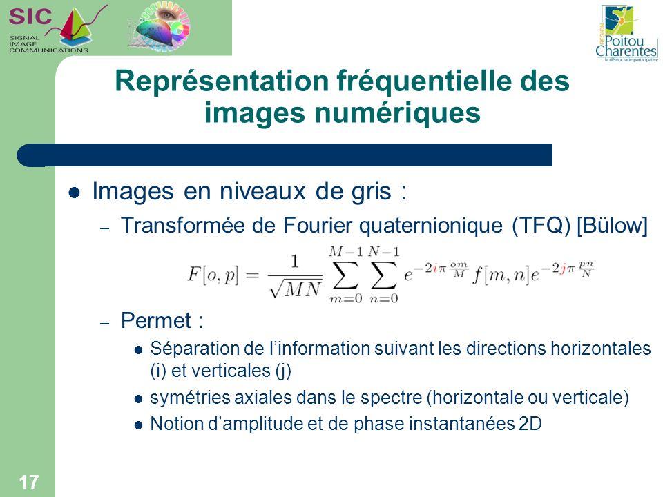 Représentation fréquentielle des images numériques Images en niveaux de gris : – Transformée de Fourier quaternionique (TFQ) [Bülow] – Permet : Sépara