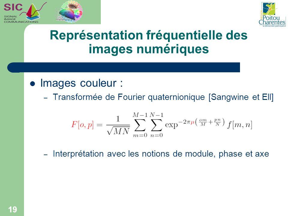 Représentation fréquentielle des images numériques Images couleur : – Transformée de Fourier quaternionique [Sangwine et Ell] – Interprétation avec le