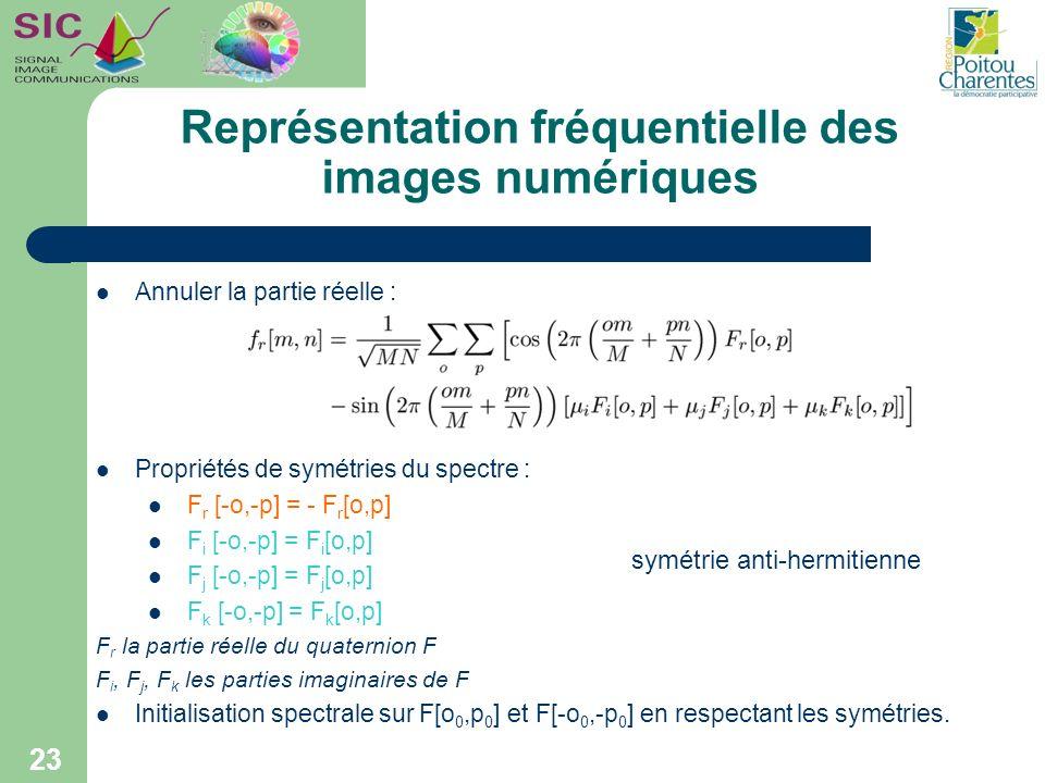 Représentation fréquentielle des images numériques 23 Annuler la partie réelle : Propriétés de symétries du spectre : F r [-o,-p] = - F r [o,p] F i [-
