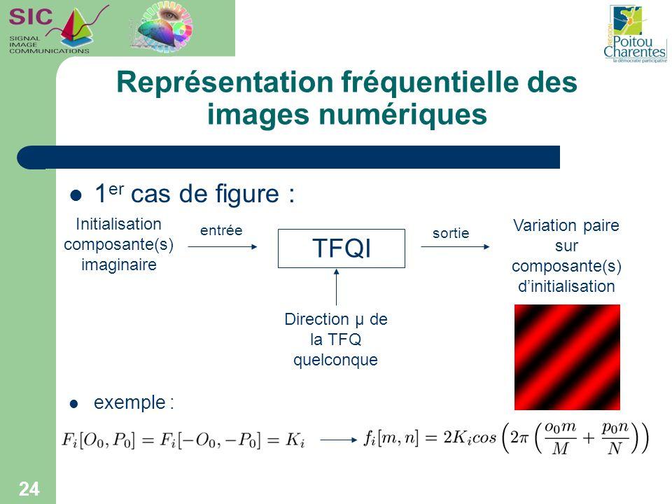 Représentation fréquentielle des images numériques 1 er cas de figure : exemple : 24 Initialisation composante(s) imaginaire Direction µ de la TFQ que
