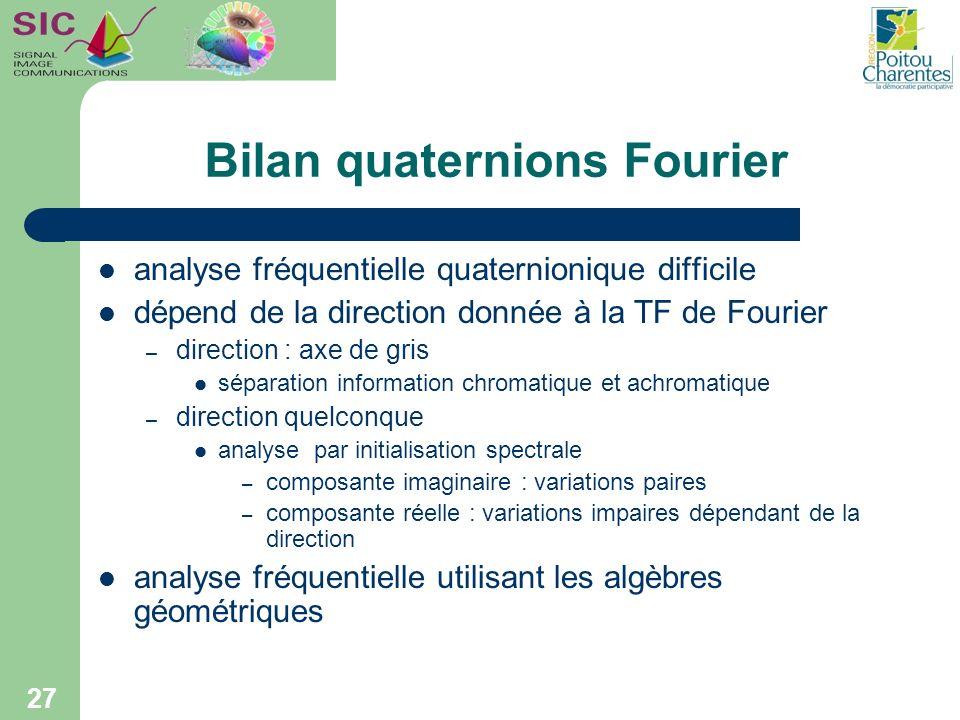 Bilan quaternions Fourier analyse fréquentielle quaternionique difficile dépend de la direction donnée à la TF de Fourier – direction : axe de gris sé