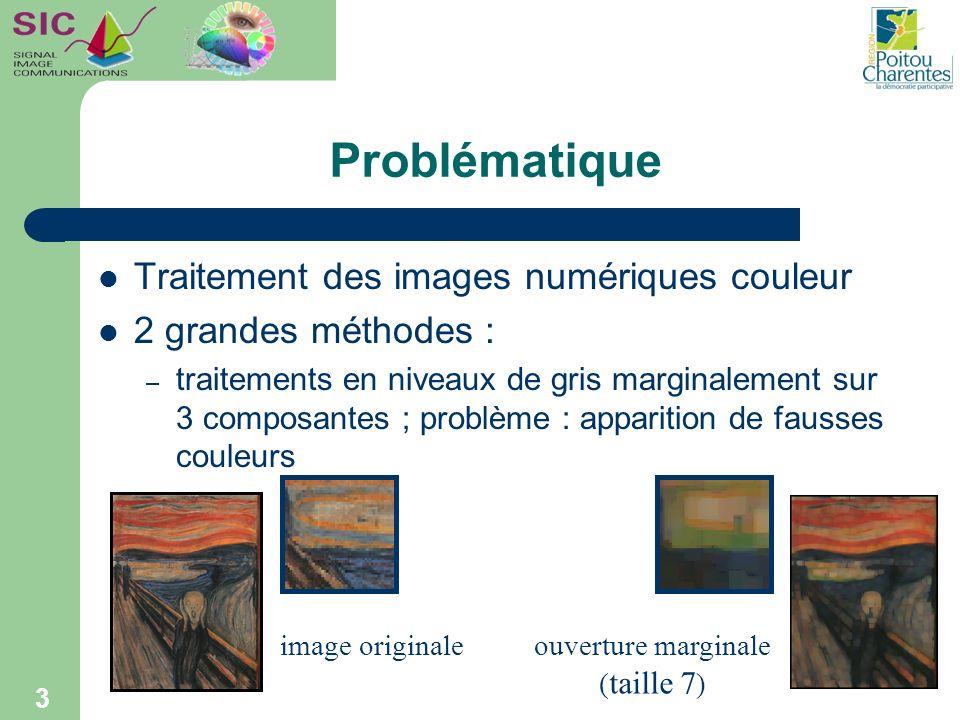 Problématique Traitement des images numériques couleur 2 grandes méthodes : – traitements vectoriels : besoin définition de relations dordre entre couleurs 4 c1c2c3 c4c5c6 c7c8c9 problème : ordre total nexiste pas Exemple (couleurs en rvb) : -c1 = (255,0,30) -c2 = (255,30,0) C1C2C3C4C5C6C7C8C9 filtre médian vectoriel c2 c1