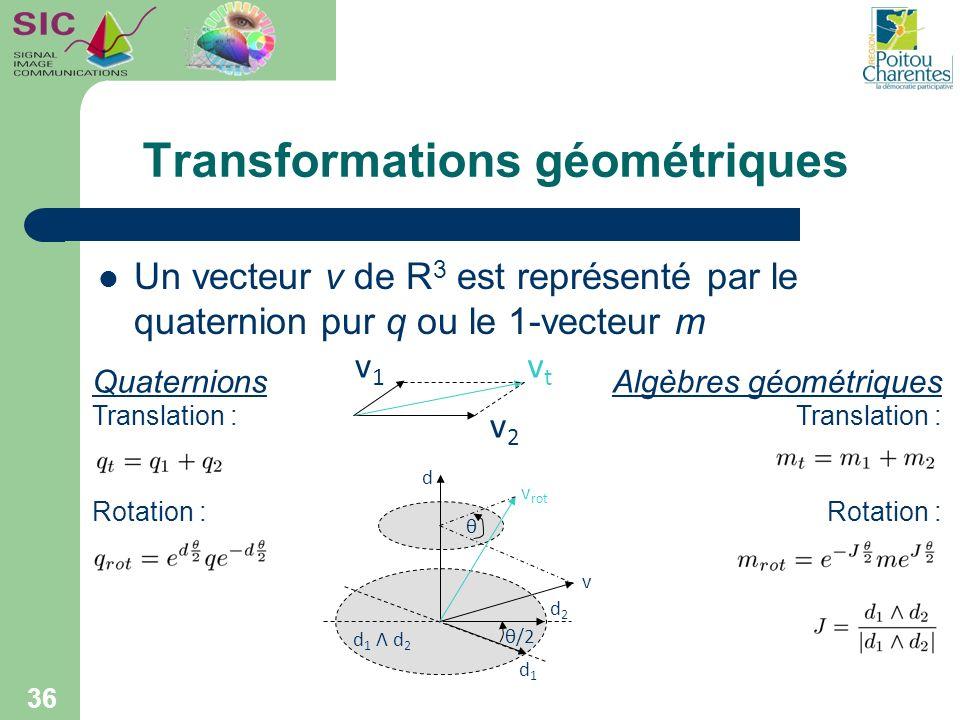 Transformations géométriques Un vecteur v de R 3 est représenté par le quaternion pur q ou le 1-vecteur m 36 Algèbres géométriques Translation : Rotat