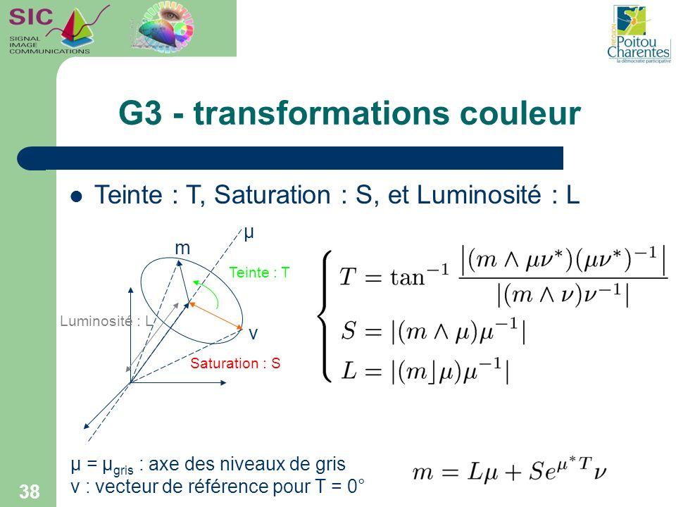 G3 - transformations couleur 38 Teinte : T Saturation : S Luminosité : L µ m ν µ = µ gris : axe des niveaux de gris ν : vecteur de référence pour T =