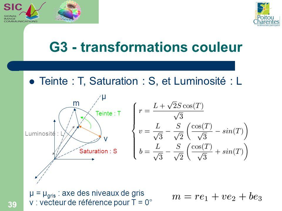 G3 - transformations couleur 39 Teinte : T Saturation : S Luminosité : L µ m ν µ = µ gris : axe des niveaux de gris ν : vecteur de référence pour T =