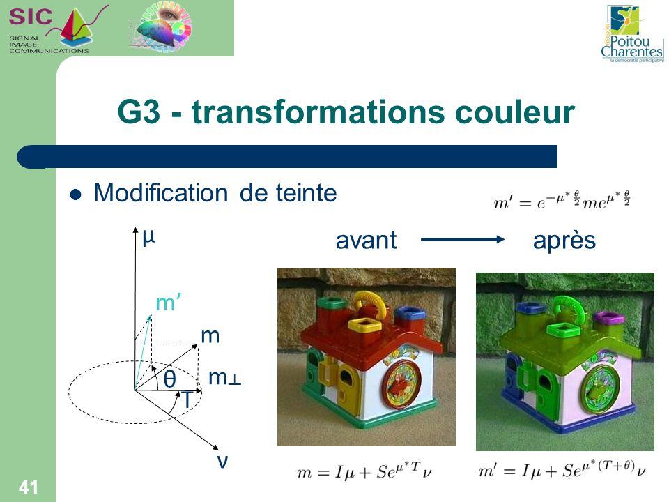 G3 - transformations couleur 41 Modification de teinte μ m m m ν T θ avantaprès