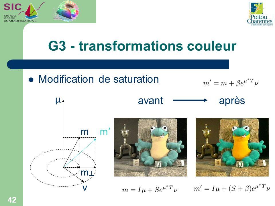 G3 - transformations couleur 42 Modification de saturation μ m m m ν avantaprès