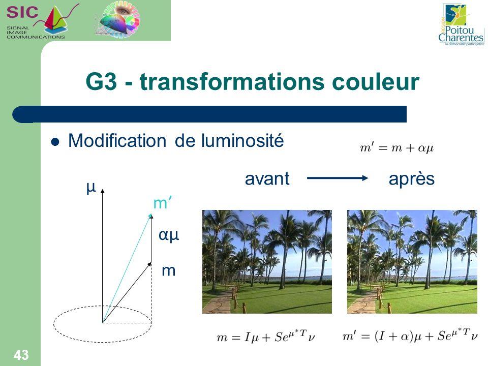 G3 - transformations couleur 43 Modification de luminosité μ αμ m m avantaprès