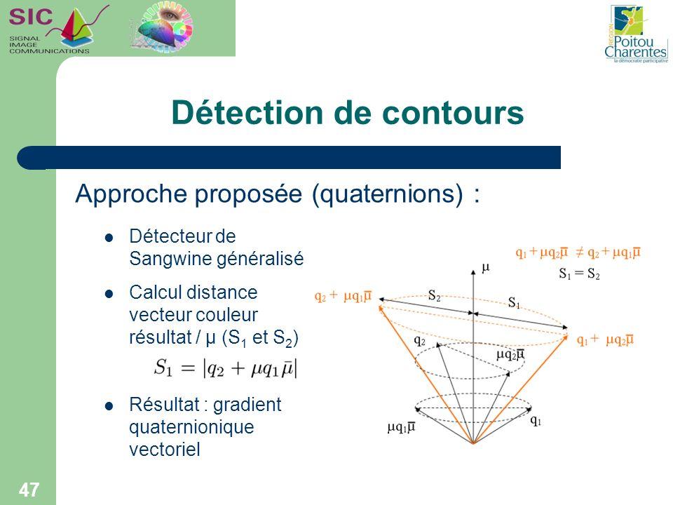 Détection de contours 47 Détecteur de Sangwine généralisé Calcul distance vecteur couleur résultat / μ (S 1 et S 2 ) Résultat : gradient quaternioniqu
