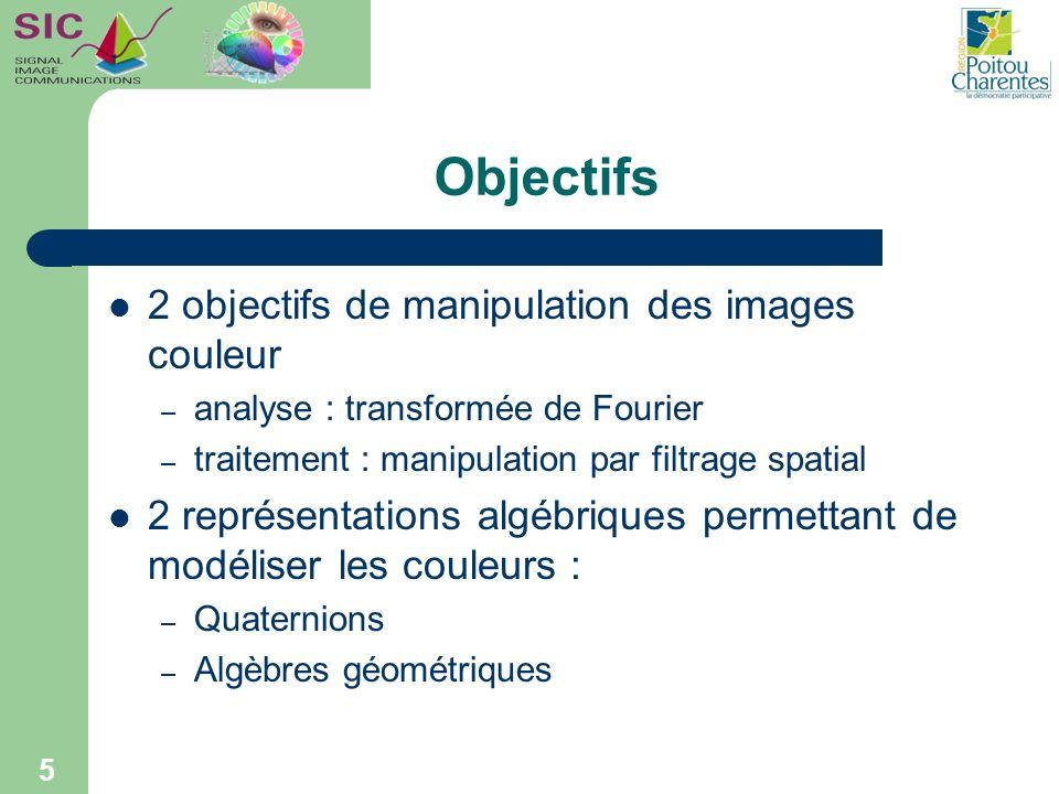 5 Objectifs 2 objectifs de manipulation des images couleur – analyse : transformée de Fourier – traitement : manipulation par filtrage spatial 2 repré