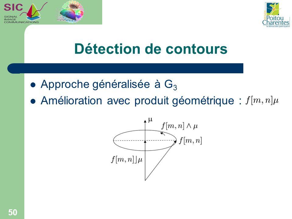 Détection de contours Approche généralisée à G 3 Amélioration avec produit géométrique : 50