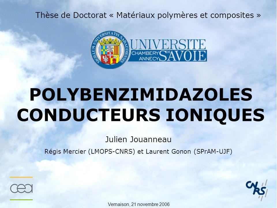 Vernaison, 21 novembre 2006 POLYBENZIMIDAZOLES CONDUCTEURS IONIQUES Thèse de Doctorat « Matériaux polymères et composites » Julien Jouanneau Régis Mercier (LMOPS-CNRS) et Laurent Gonon (SPrAM-UJF)