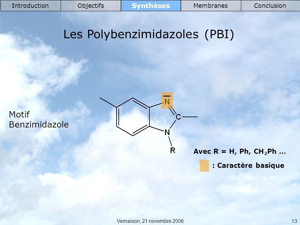 Vernaison, 21 novembre 2006 13 Synthèses IntroductionObjectifsMembranesConclusion Les Polybenzimidazoles (PBI) Avec R = H, Ph, CH 2 Ph … : Caractère basique Motif Benzimidazole