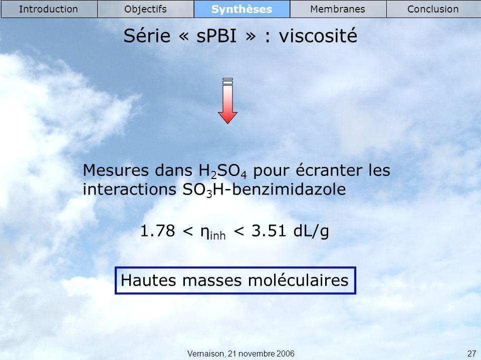Vernaison, 21 novembre 2006 27 Synthèses IntroductionObjectifsMembranesConclusion Série « sPBI » : viscosité Mesures dans H 2 SO 4 pour écranter les interactions SO 3 H-benzimidazole 1.78 < η inh < 3.51 dL/g Hautes masses moléculaires