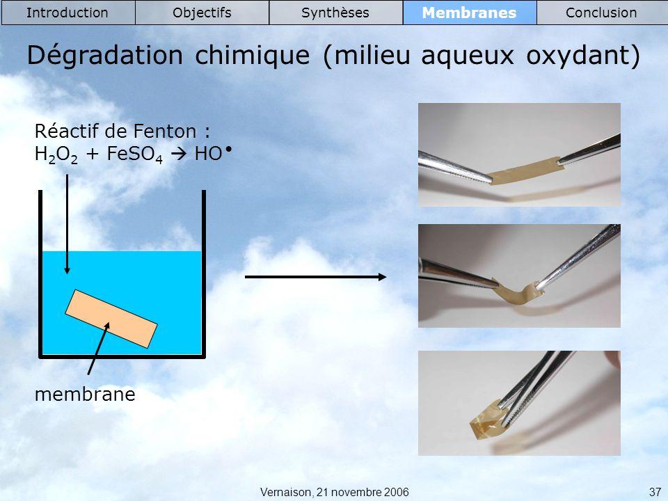 Vernaison, 21 novembre 2006 37 Membranes IntroductionObjectifsSynthèsesConclusion Dégradation chimique (milieu aqueux oxydant) membrane Réactif de Fenton : H 2 O 2 + FeSO 4 HO