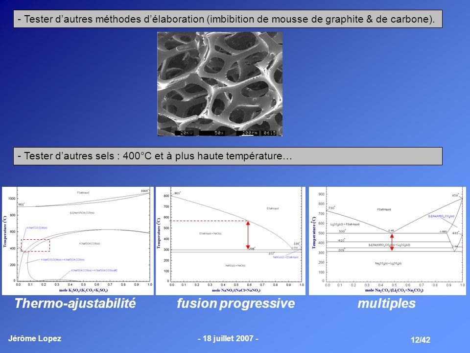 Jérôme Lopez- 18 juillet 2007 - 12/42 - Tester dautres méthodes délaboration (imbibition de mousse de graphite & de carbone). - Tester dautres sels :