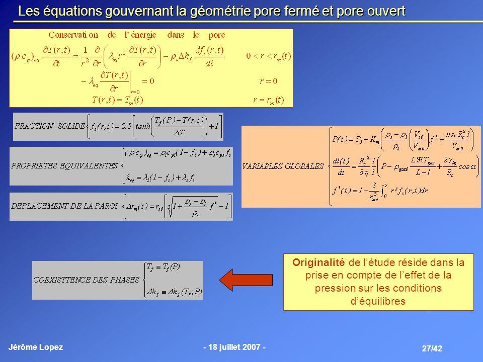 Jérôme Lopez- 18 juillet 2007 - 27/42 Les équations gouvernant la géométrie pore fermé et pore ouvert Originalité de létude réside dans la prise en co