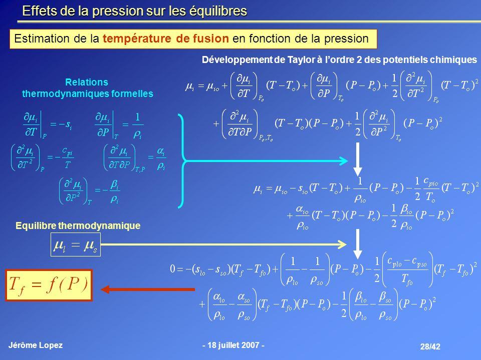 Jérôme Lopez- 18 juillet 2007 - 28/42 Effets de la pression sur les équilibres Développement de Taylor à lordre 2 des potentiels chimiques Relations t