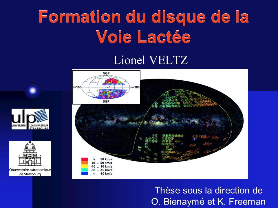 Référentiel standard local (LSR) Origine: Point idéal en rotation le long dune orbite circulaire de rayon R V LSR 220 km.s -1 T 250.10 6 ans Direction: Composantes de la vitesse: (U,V,W) LSR R CG Cinématique du disque W V U Rot.