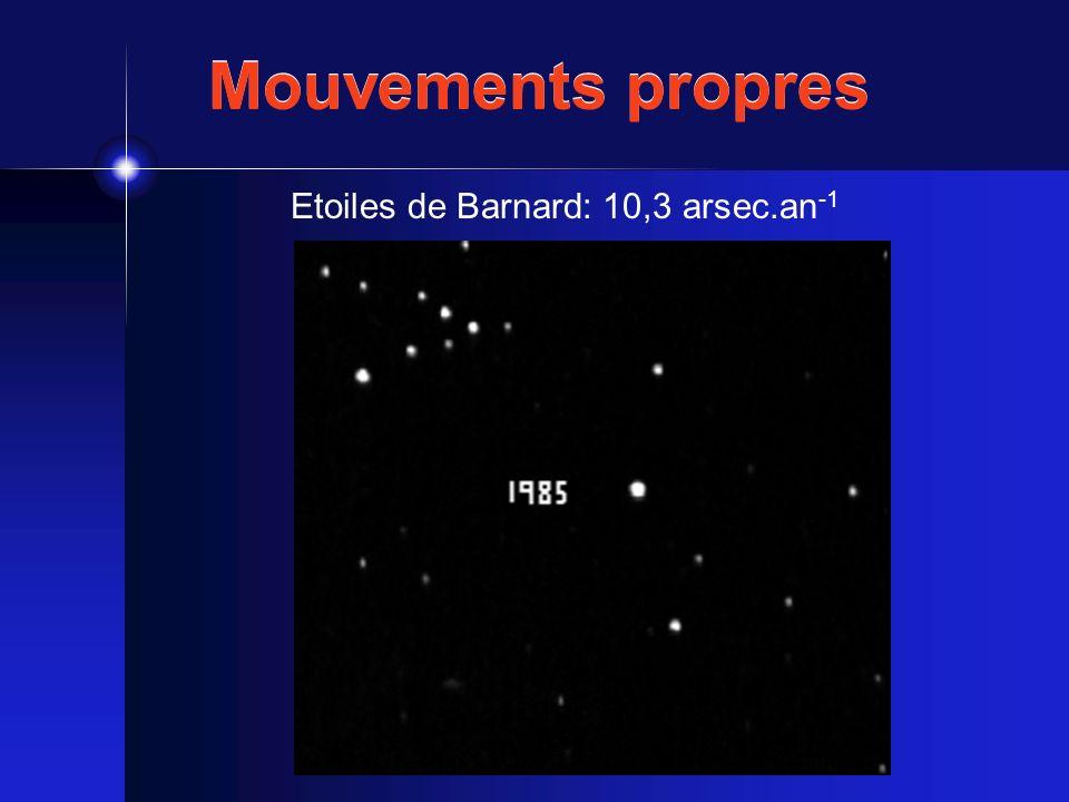 Mouvements propres Etoiles de Barnard: 10,3 arsec.an -1