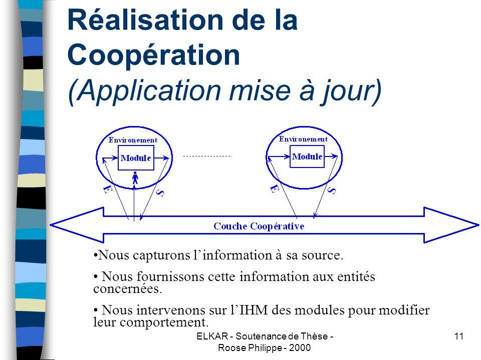 ELKAR - Soutenance de Thèse - Roose Philippe - 2000 11 Réalisation de la Coopération (Application mise à jour) Nous capturons linformation à sa source.