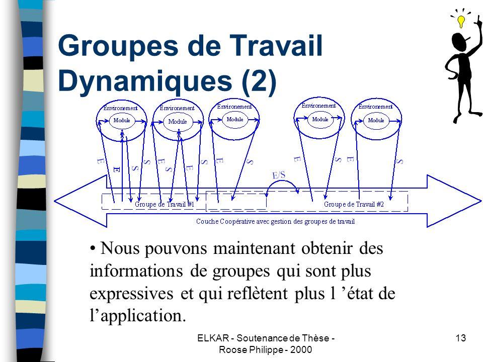ELKAR - Soutenance de Thèse - Roose Philippe - 2000 13 Groupes de Travail Dynamiques (2) Nous pouvons maintenant obtenir des informations de groupes qui sont plus expressives et qui reflètent plus l état de lapplication.