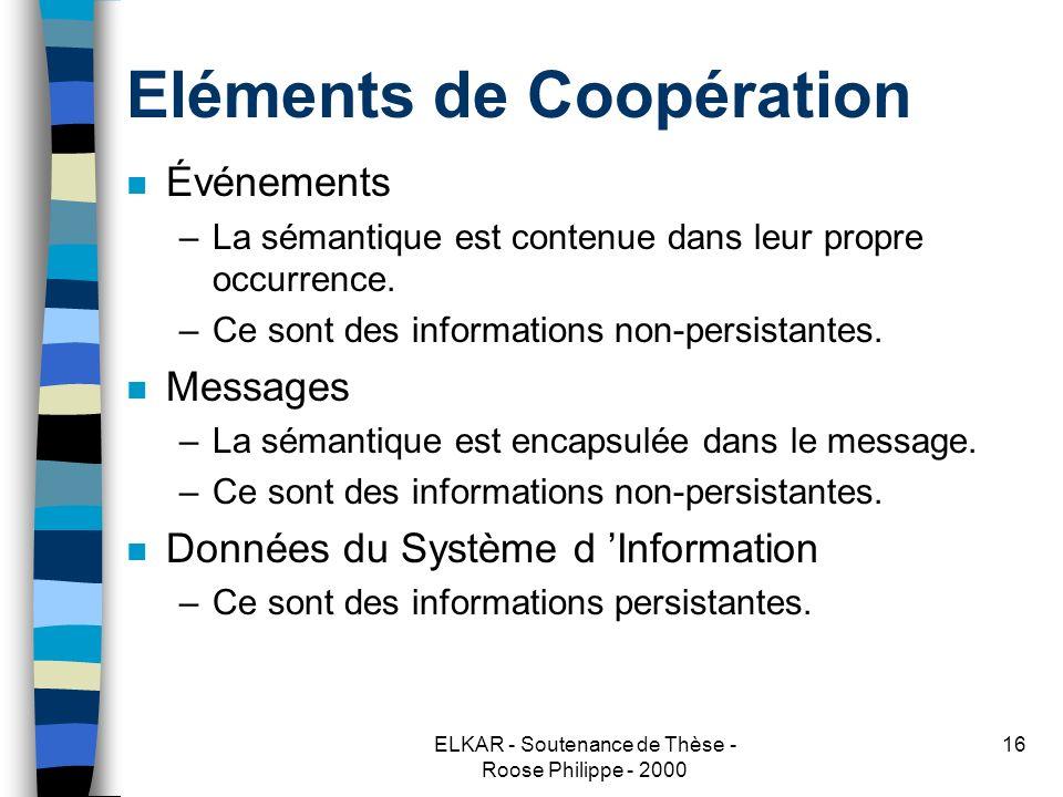 ELKAR - Soutenance de Thèse - Roose Philippe - 2000 16 Eléments de Coopération n Événements –La sémantique est contenue dans leur propre occurrence.