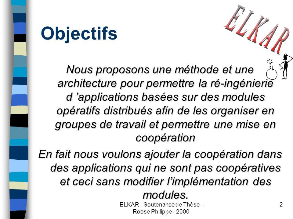 ELKAR - Soutenance de Thèse - Roose Philippe - 2000 2 Objectifs Nous proposons une méthode et une architecture pour permettre la ré-ingénierie d applications basées sur des modules opératifs distribués afin de les organiser en groupes de travail et permettre une mise en coopération En fait nous voulons ajouter la coopération dans des applications qui ne sont pas coopératives et ceci sans modifier limplémentation des modules.