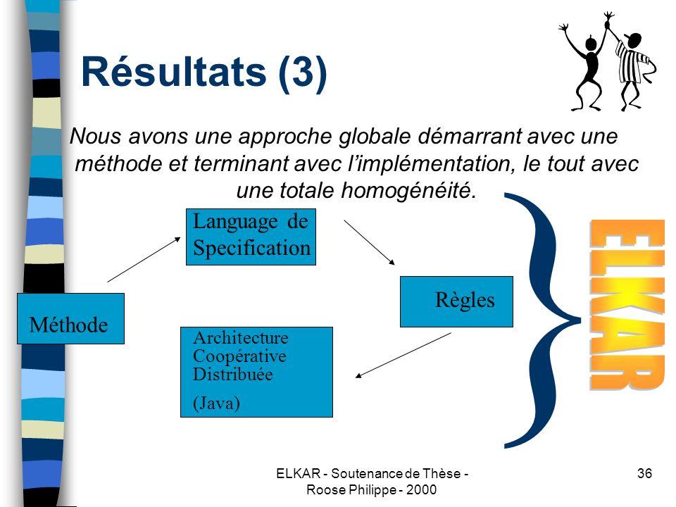 ELKAR - Soutenance de Thèse - Roose Philippe - 2000 36 Résultats (3) Nous avons une approche globale démarrant avec une méthode et terminant avec limplémentation, le tout avec une totale homogénéité.