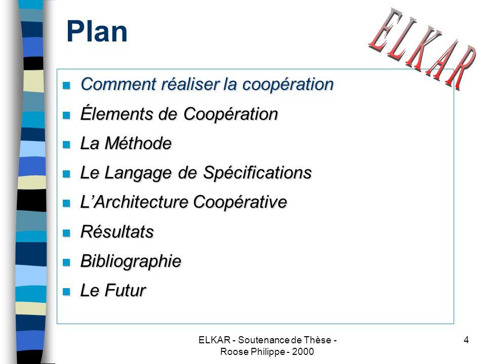 ELKAR - Soutenance de Thèse - Roose Philippe - 2000 5 Les coopérations actuelles Pourquoi : parce que la plupart du temps, la coopération est réalisée à laide dopérateurs externes ou de programmes dédiés, nous voulons automatiser ceci.